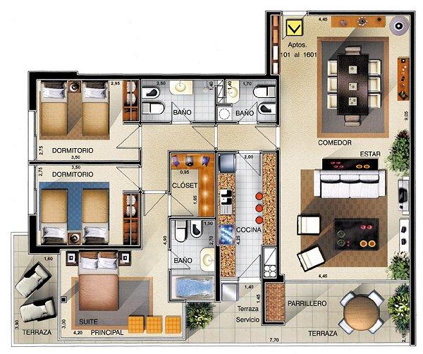 Planos Apartamentos 3 Dormitorios